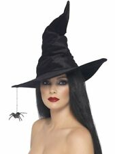 Smiffys Witch Hat Black Spider Magic Velour Halloween Costume Accessory 24146