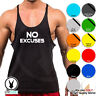 Gym Singlets - NO EXCUSES - Men's TankTop Bodybuilding Stringer Workout C68