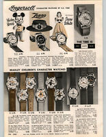 1962 PAPER AD Ingersoll Character Wrist Watch Snow White Zorro Yogi Bear Space