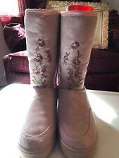 Avon Pink Embroidered Flower Boot