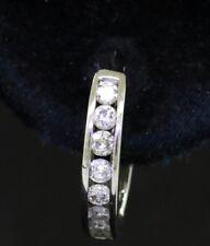 14k white gold 0.64ct diamond huggie hoop earrings