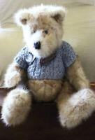 "Vintage Mink fur plush jointed Teddy Bear 21"""