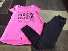 Girls Justice Meow Squad short sleeve tee long leggings outfit size 10/12(Vguc)
