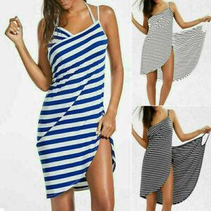 Womens Bikini Cover Up Swimwear Beach Maxi Wrap Skirt Sarong Stripe Sling Dress
