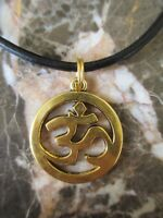 Gold Buddhist Yoga Ohm Om Pendant on Black Real Leather Necklace with Clasp
