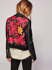 FREE PEOPLE BLACK RED EMBROIDERED LONG SLEEVE VEGAN LEATHER BOMBER JACKET Sz L