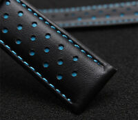 Replacment Leather Watch Strap Band BLUE Made For Tag Heuer Monaco