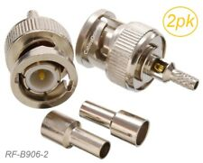 2-Pack BNC Male Crimp/Solder Type RF Connector for RG316/RG174/LMR100 Coax wire