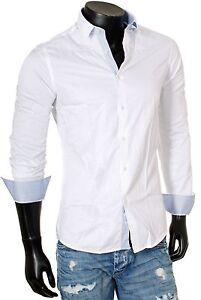 Young & Rich Party Herren Hemd Langarm 6121 weiß-blau
