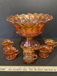 VERY RARE - IMPERIAL HEAVY GRAPE MARIGOLD PUNCH BOWL WITH BASE AND 5 CUPS