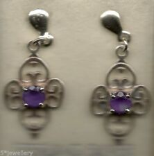 Pear Amethyst Not Enhanced Fine Gemstone Earrings
