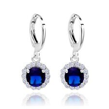 Sunflower Design White Gold Filled Cubic Zircon Drop Earrings For Lady
