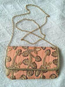WOMENS GOLD ORANGE FLORAL SEQUINS SHOULDER BAG SMALL GOLD LONG CHAIN STRAP 9 X 6