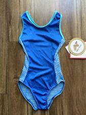 NWT Motionwear Gymnastic Leotard Blue Foil Hologram Child Sizes