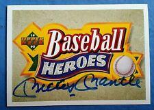 MICKEY MANTLE PERSONALLY SIGNED 1992 Baseball Heroes Card COA