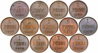 Finnland Finland Rußland Zar Nikolai II - KONVOLUT 13 Münzen - 1 Penni 1900-1916