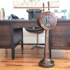"Large Two-Engine Antiqued Brass Telegraph REPLICA~40"" High~Weight: 35 lbs."