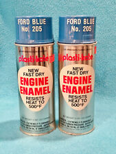2 VINTAGE PLASTI-KOTE ENGINE ENAMEL SPRAY CANS - #205 - FORD BLUE