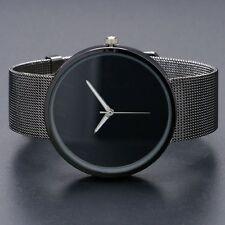 Black Metal Iron Net Mesh Band Quartz Wrist Watch Mens Womens Xmas Gift Q1003