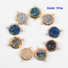 1Pcs Gold Plated Round Titanium Rainbow Agate Druzy Facted Connector AG0775