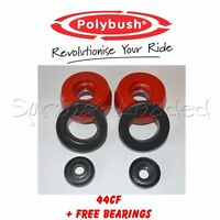 Polybush Front Strut Top Mounts -10mm +FREE BEARINGS for VW GOLF R32 Mk4 2001-04