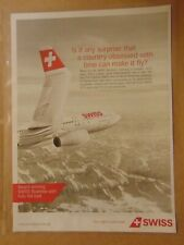 SWISS AIR AVIATION Airline Original Print Ad Advertising