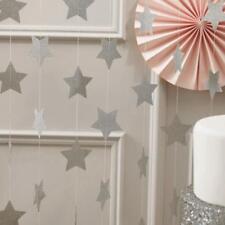 4m Guirlande de Pentacle Etoile Papier Décor Suspendu pr Noël d'Argent Petit