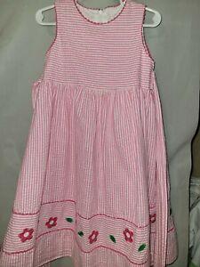 Florence Eiseman Girls Size 4 Seersucker Striped Dress Sleeveless