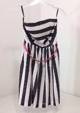 NWT LITTLE MISTRESS  CANDY STRIPE SEQUIN BANDEAU DRESS US SZ 6 $105