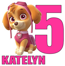 "Skye Paw Patrol Name Age Personalized Iron On Transfer 5x5"" LIGHT Colored Fabric"