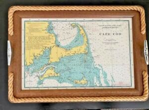 Nautical Map Cape Cod Martha's Vineyard Nantucket Rope Tray Cleats Wall Hanging