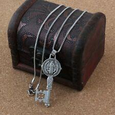 2pcs Saint Benedict Exorcism Medal Catholic Cross Key Charm Pendant Necklace