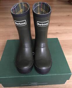 BNIB Barbour Banbury Wellington Boots Wellies Green Size 4