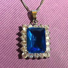 PE Emerald cut blue topaz +diamante 37x24mm WHITE GOLD F pendant 45cm chain Plum