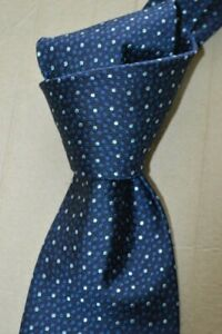 """$235 NWOT BRIONI Navy Blue w/ scattered dots 3.75"""" handmade woven silk tie ITALY"""