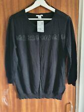 H&M Black Lace Trim Jumper Size Large