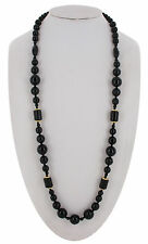 Necklace Czech Bohemian Glass Bead Beaded Black Gold Tone Long 32""