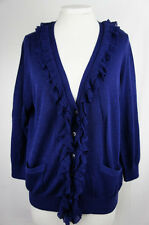 Sussan Womens Cardigan XL Ruffle Pocket Knit Jacket Top 3/4 Sleeve Stretch 155