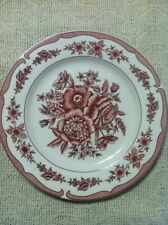 "Set of 4 AMERICAN ATELIER ""FLORAL TOILE "" CRANBERRY -- RED DINNER PLATE"