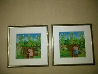 """Framed African American Paintings by Artist  Chescal Q. - Two 6"""" × 6"""""""