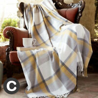Luxury Ochre Grey Mustard Check Woollen Touch Soft Bed Sofa Blanket Throw Fringe