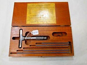 "Lufkin # 513 (0 - 6"") Depth Micrometer, & Original Wooden Storage &  Box (as is)"