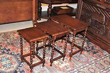 Beautiful Antique English Oak Barley Twist Set of 3 Nesting Tables .