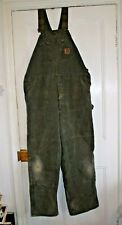 Vintage Carhartt Canvas Duck Insulated Dungarees, Green, Made in USA, 42/32