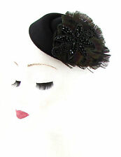 Black Feather Pillbox Hat Fascinator Hair Cocktail Funeral Headpiece Vtg 40s 535
