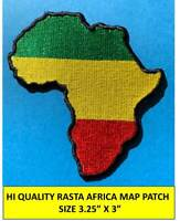 """AFRICA MAP (GYR) RASTA EMBROIDERED PATCH IRON-ON SEW-ON  (3¼ x 3"""") - HI QLTY!"""