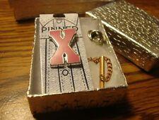 """ X "" Monogram Letter Lapel Pin W/Tie Back Safety Chain Silver Tone-PINK Enamel"