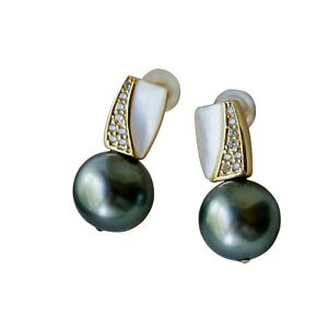 Unique style 10.5~11mm Grey Black Tahitian Seawater Pearl Earring S925 TH70