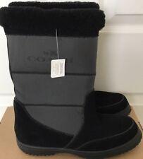 New COACH $195 Sherman Suede Nylon Boots Black Size 8.5