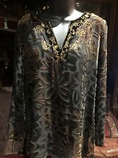 916de220d1aa8 Chico s Shaved Silk Velvet Embroidered Beaded Gothic Shirt Top